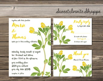 Botanical Wedding Invitation Set, Yellow Lotus Invitation, Boho Floral Wedding Invitation, Vintage Botanical Invitation, Rustic Invitation
