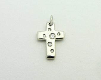 Tiffany & Co Etoile Diamond Small Cross Charm 18k White Gold