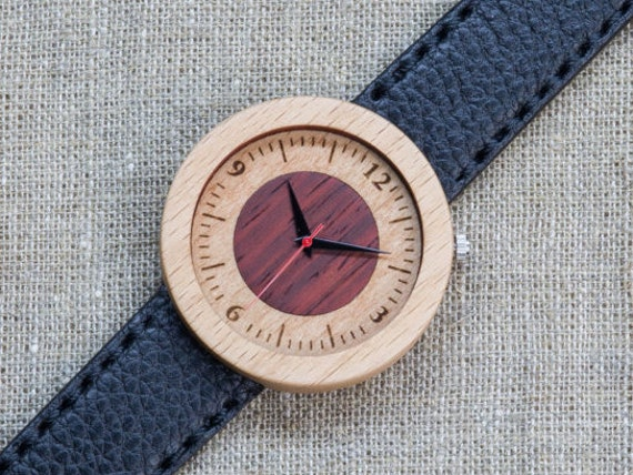 White red beech minimal wood watch , Majestic Watch,  Black   Genuine Leather strap + Any Engraving / Gift Box. Anniversary  gift