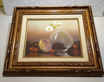 Original Still Life by Evelyn Wallace Framed Oil on Canvas Daisies in Vase with Apple and Cherries presented by Donellensvintage