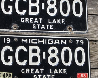 1979 Michigan matched pair of License Plates
