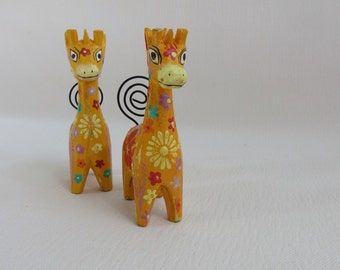 Vintage Placecard Holders Giraffes Folk Art Set of 2 Mexico
