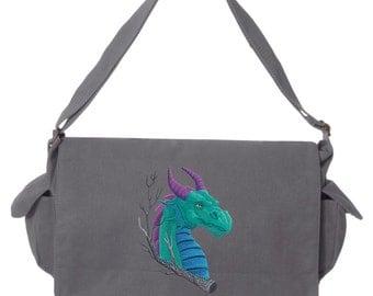 Dragon Bag, Dragon Canvas Bag, Dragon Messenger Bag, Dragon Power Colorful Asian Dragon Embroidered Canvas Cotton Messenger Bag