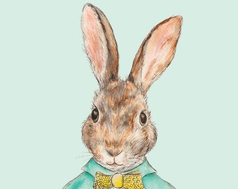 Sir Rabbit // Giclee Print, rabbit, bunny, illustration, watercolour, decor