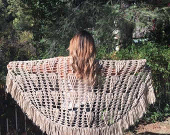 Knit shawl, fringed rap, tan, shawl, wrap,very soft