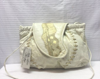 Fifth Avenue, Bags,Purses, Bone, Cream Faux Leather, Shoulder Bag, Unused with tag,NWT,1980s