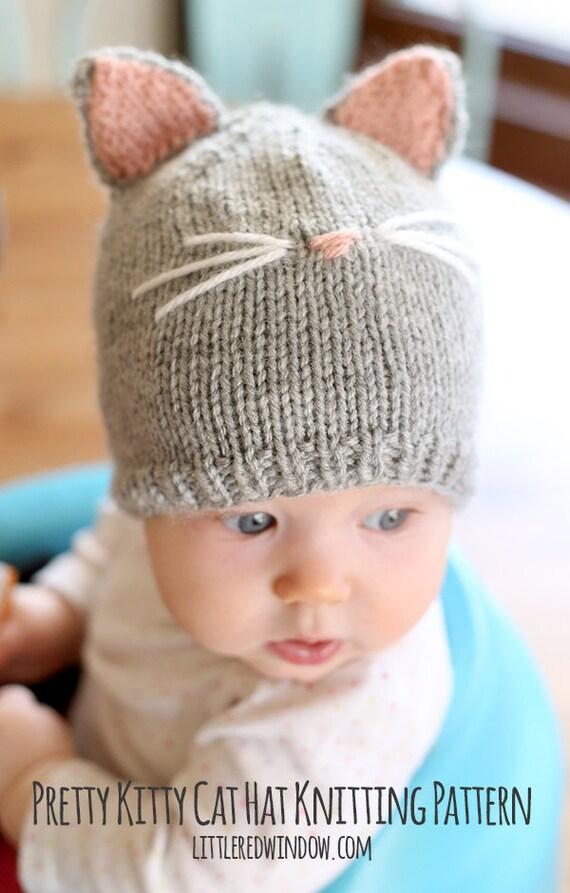 Kitty cat baby hat knitting pattern knit cat by littleredwindow - Free cat hat knitting pattern ...