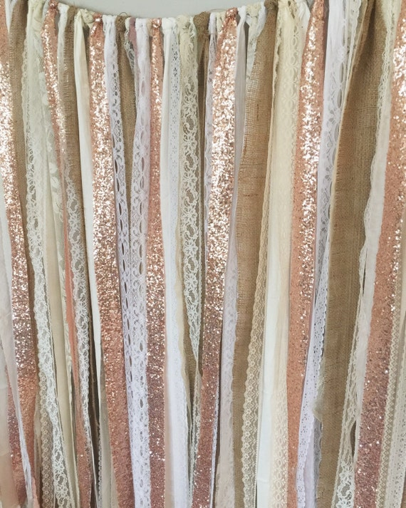 Rose Gold Sequin Garland Backdrop Rustic Chic Wedding Photo