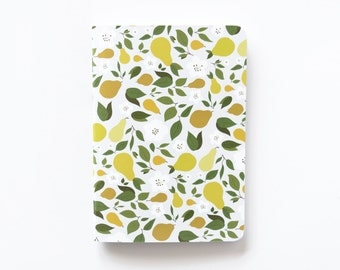 Medium Illustrated Journal | Hand Illustrated Floral Journal with Pear Motif, Lined Notebook Stationery : Pear Collection