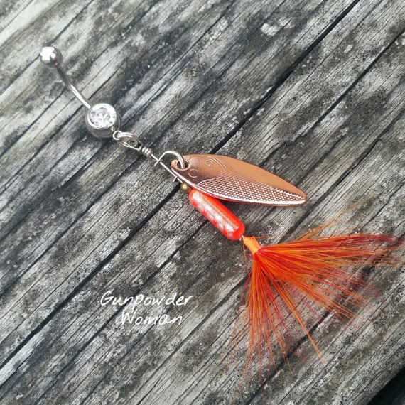 Coral and copper rooster tail fishing lure navel belly button for Rooster tail fishing lure