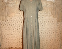 90s Grunge Dress Short Sleeve Button Up Maxi Dress Vintage 1990s Clothing Tea Length Elaine Seinfeld Size 8 Dress Medium Womens Clothing