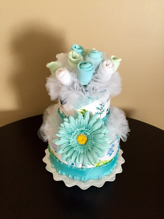 Items similar to 2 Tier Baby Sock Bouquet Burp Cloth Cake