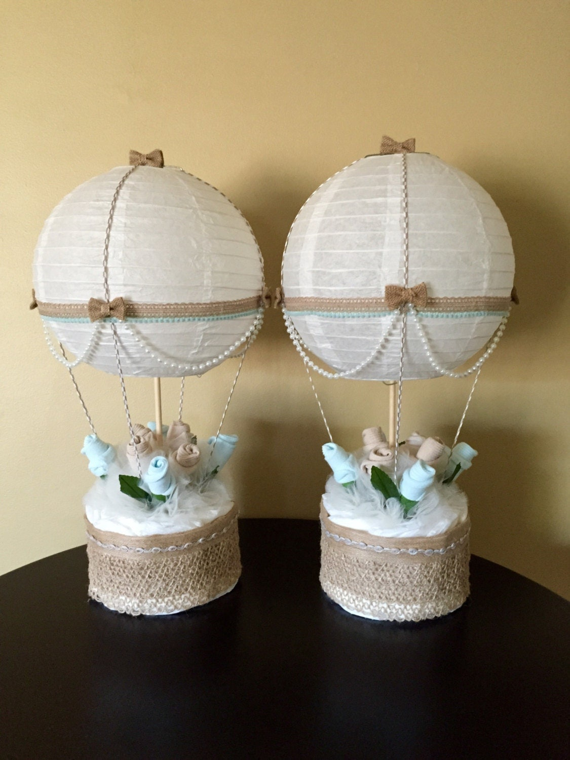 Hot air balloon baby shower table centerpiece by for Baby shower centerpiece decoration