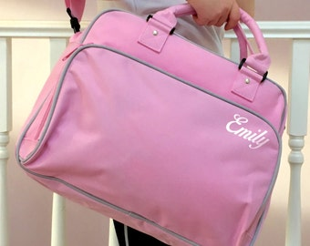 Retro Style Dance Gym Bag Girls Pink Bag Swimming Bag Personalised Ballet Gymnastics Named Bag With Across The Body Strap