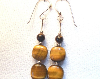 Tigereye earrings with square tigereye on 12k goldfilled