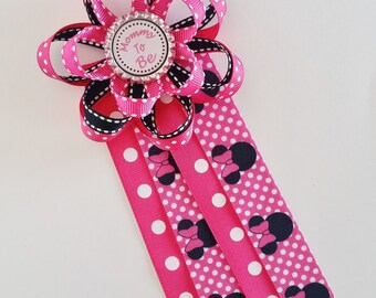 Minnie Mouse Baby Shower Corsage, Mommy To Be Pin, Daddy To Be, Grandma
