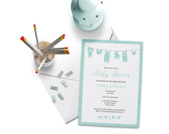 Baby Shower Invitation Boy in Blue