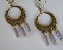 Vintage Style Gypsy Hoop Lavender Chandelier  Lavender Dangle Lacey Brass Filigree Hoop Earring Boho Dream Catcher Earring