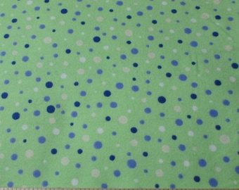 Flannel Fabric - Multi Dots on Green  - 1 yard - 100% Cotton Flannel