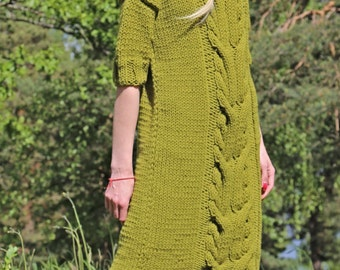 Instant Download PDF pattern. Hand knitted cable knit dress with short sleeves. Digital pattern from Ilze Of Norway. (0127)