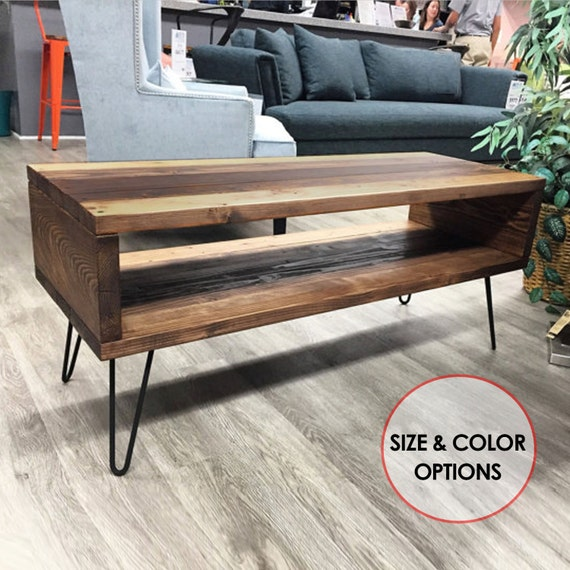 Mid Century Modern Coffee Table W/Hairpin Legs Rustic Coffee