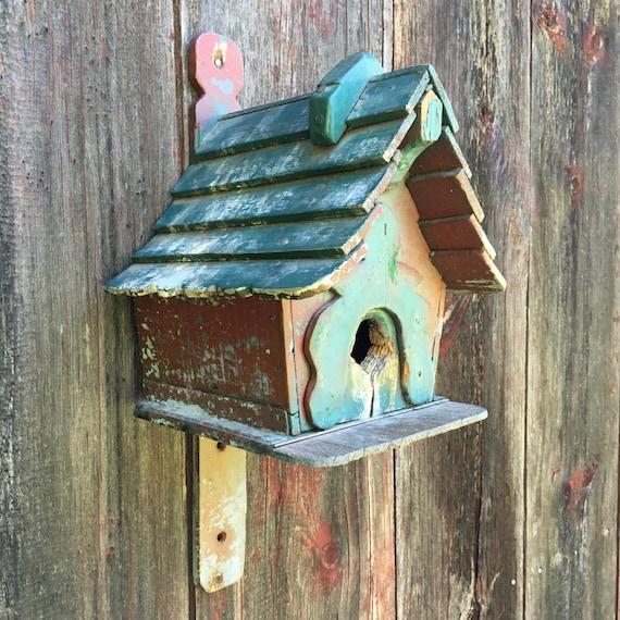 Vintage handmade wooden birdhouse cottage design turquoise