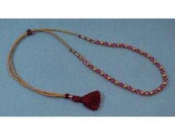 Adjustable Cord Pink Crystal Bead Tassel Necklace