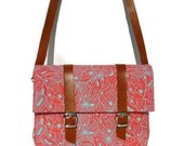 Coral and Turquoise floral Canvas And Leather Bicycle Bag