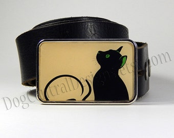Belt Buckle Black Cat Belt Buckle Choice of Buckle Finish Womens Belt Buckles Womens Clothing Accessories