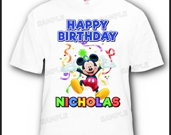 Personalized Happy Birthday Mickey Mouse T-Shirt