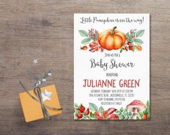 Fall Baby Shower Invitation Printable, Pumpkin Baby Shower Invitation, Autumn Baby Shower Invitation, Boy or Girl Baby Shower Invitation