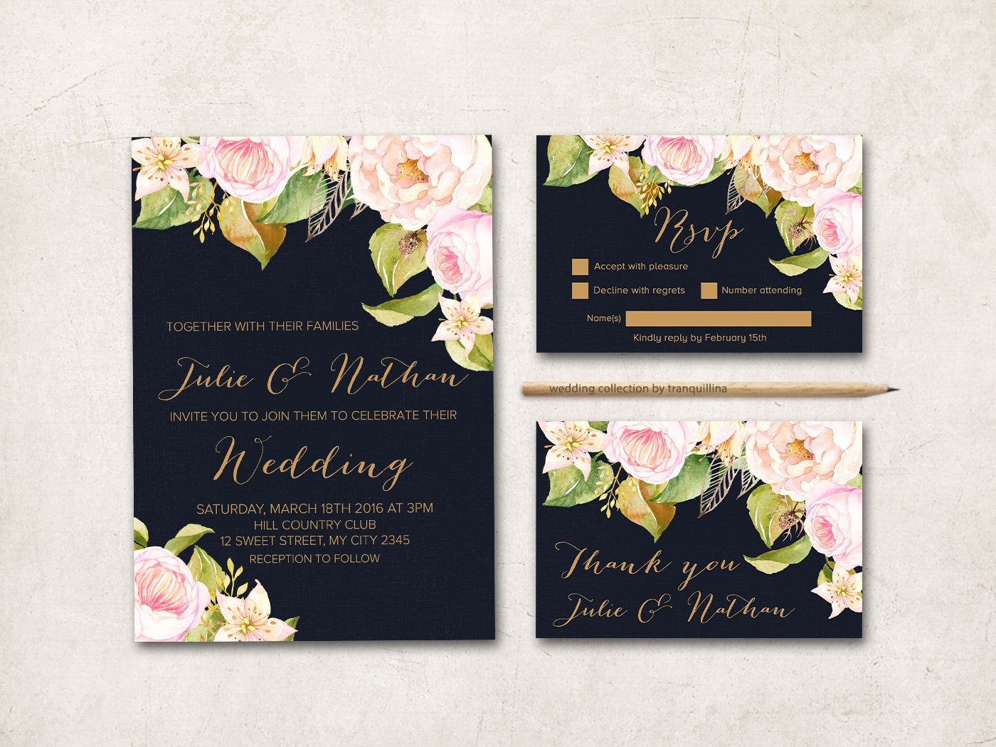 Dark Navy Wedding Invitation