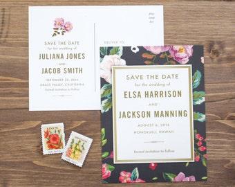 Save the Date Postcard, Modern, Tropical, Destination Wedding, Classic, Customizable, Engagement Announcement, Postcard