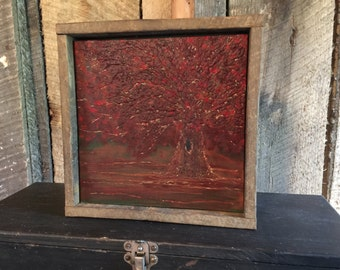 Fall Home Decor, Rustic Art, Engraved Wood, Cabin Decor, Turning Leaves, Autumn, Landscape, Maple Tree, Red Decor, Thanksgiving, Gift
