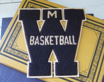 Vintage Varsity Letter BASKETBALL School Letterman Jacket Sweater Patch FREE SHIPPING