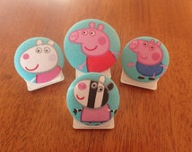 PEPPA PIG Magnetic Clips/ Peppa Pig Fabric Button Magnets