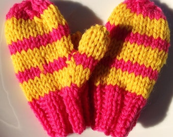 Mittens Hand Knit Children's Mittens Merino Wool Kid's Mittens (Extra Small) Pink & Yellow Striped Kid's Mittens Striped Pink Yellow Mittens