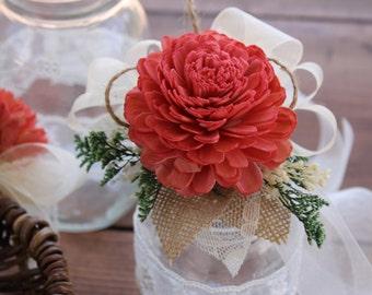 Coral Wrist Corsage, Coral Sola Corsage, Coral Flower Corsage, Bridesmaid Corsage, Coral Wrist Corsage, Rustic Wedding Corsage