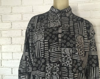 Crazy Black and Silver Moons Swirls Magic 3/4 Sleeve Oversized Button Down Dress Shirt