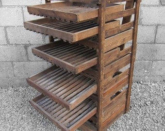 Rustic Apple Crate Storage Rack Antique Traditional