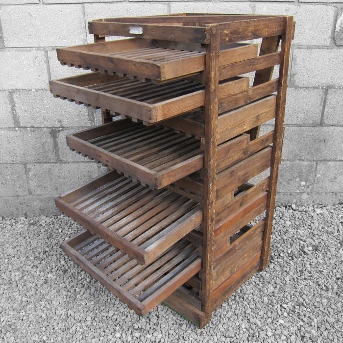 Antique Wooden Racks ~ Rustic apple crate storage rack antique traditional