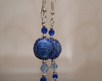 Blue Cloisonne Earrings Item No. 83