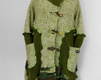 Upcycled Moss Green Coatigan / Recycled Sweater Coat / Lagenlook Knit Coat / Art-to-Wear / O.O.A.K.