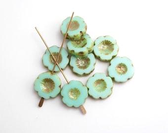 10 x 14mm Light Green Hawaiian Flower Czech Glass Beads, Green Flower Beads, Glass Flower Beads, Hawaiian Flower FLW0241