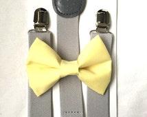 Light gray suspenders  + Light Yellow Bow tie toddler kids boy boys Adult holidays photos family photoshoot