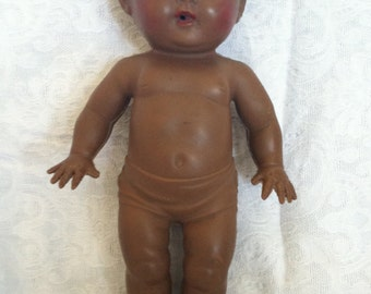Vintage Rubber TOD-L-TOT Brown Doll Sun Rubber Company 1950's