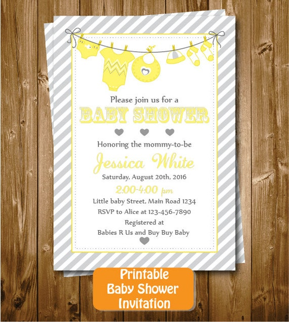 baby clothing baby shower invitation baby cloths printable party