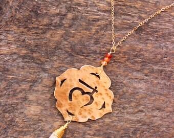 Root Base chakra necklace - raw citrine Muladhara crystal garnet yoga yogi gift metaphysical sanskrit mantra handmade jewelry