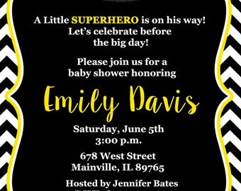 Batman Baby Shower Invitation, Baby Invitation, Superhero, First Birthday, 1st Birthday -  Printable or Printed