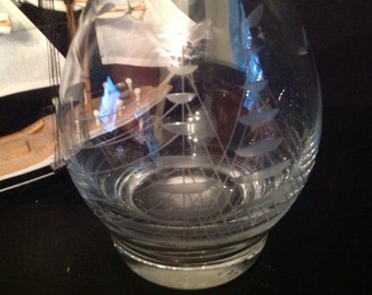etched glass decanter barware clipper ship boat birds large glass stopper